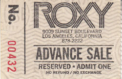 The Roxy, Hollywood, CA (USA) - 2 October 1981 wikipedia duran duran ticket