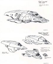 Malon Shuttle preliminary design sketches by Rick Sternbach