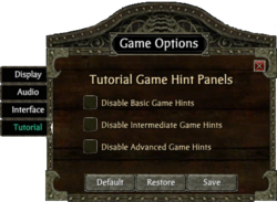 TutorialGameOptions