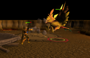 A player slaying the phoenix