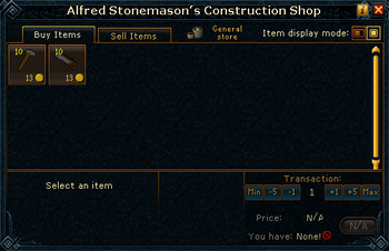 Alfred Stonemason's Construction Shop stock