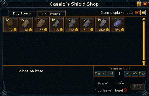 Cassie&#39;s Shield Shop stock