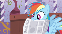 Rainbow Dash holding newspaper S2E23
