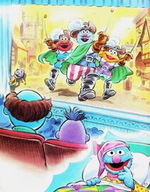 Grover stays up very very late three musketeers