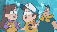S1e2 dipper and mabel looking at each other