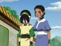 Katara comforting Toph
