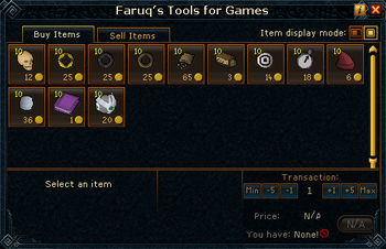 Faruq&#39;s Tools for Games stock