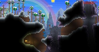 Terraria overlapping snow hallow corruption biomes