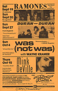 Nitro, 14060 Telegraph Road off jeffries freeway, Redford, MI, usa duran duran 27 september 1981 wikipedia show venue