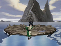 Toph walking on ice