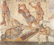 Retiarius vs secutor from Borghese mosaic