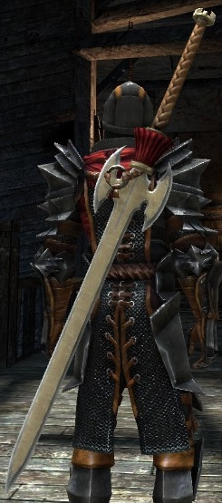 DA2 Valo-Kas Iss (greatsword) on Hawke w Mantle of the Champion (warrior)
