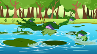 Frogs jumping away S1E23
