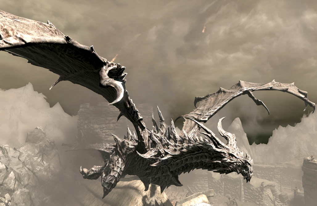 A dragon tale(Base on Skyrim, Dragons) Alduin_over_Helgen