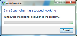 Sims3Launcher stopped working