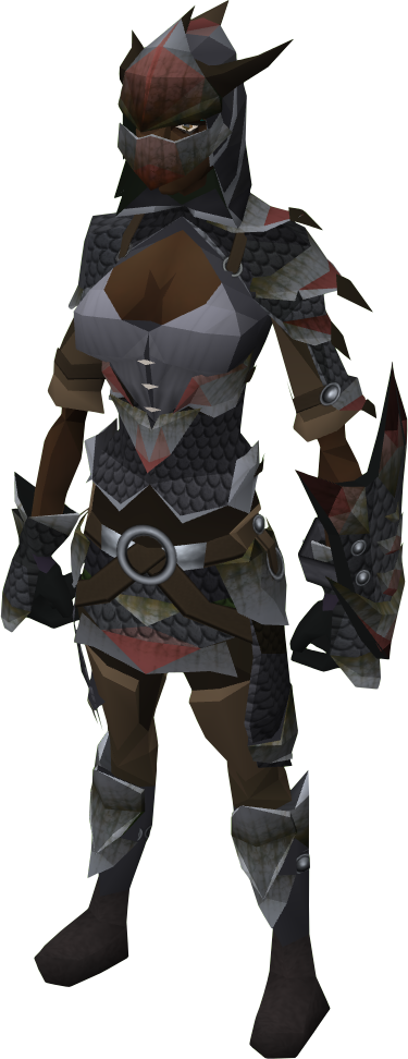 Black dragonhide armour equipped female