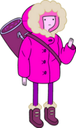 Princess Bubblegum in snow parka carrying bag