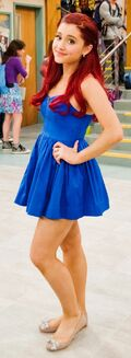 Ariana poses in her Cat Valentine dress on set