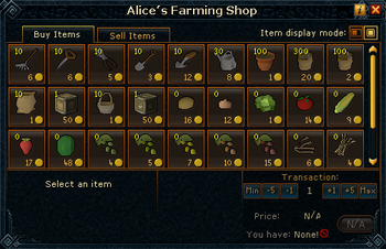 Alice's Farming Shop stock