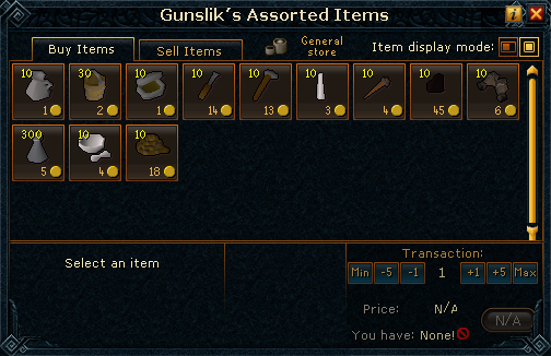 Gunslik's Assorted Items stock