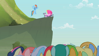 Rainbow Dash waving to the crowd S2E08