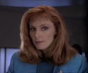 Beverly Crusher in sickbay, 2370