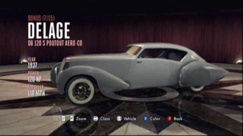 L.A. Noire Hidden Vehicles Bonus - Delage D8-120 S Poutout Aero-Co