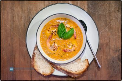 Heirloom-Tomato-Soup-with-Grilled-Shrimp-20120516-RCD 2612-Edit-1024x679