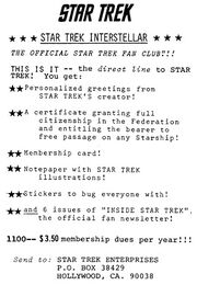 Star Trek Interstellar The Official Star Trek Fan Club 1968