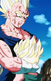 Vegeta despidiendose de Trunks