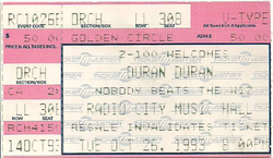DURAN DURAN OCTOBER 26, 1993 RADIO CITY MUSIC HALL CONCERT TICKET STUB new york wikipedia