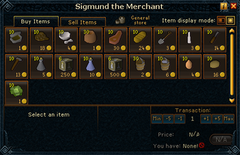 Sigmund the Merchant (Shop) stock