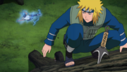 Minato flies to a kunai
