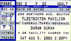 TICKET FLEETBOSTON PAVILLION - AUGUST 5, 2000 WIKIPEDIA DURAN DURAN