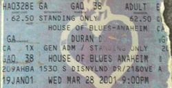 House of Blues, Anaheim, CA, USA wikipedia duran duran ticket stub 2