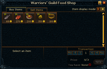 Warriors' Guild Food Shop stock
