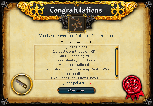 Catapult Construction reward