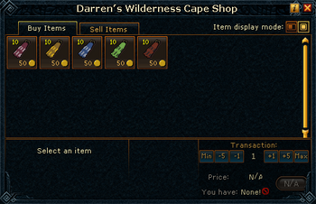 Darren's Wilderness Cape Shop stock