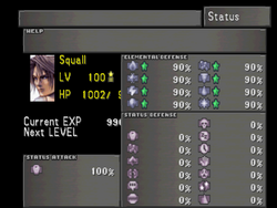 FFVIII Status Screen 1