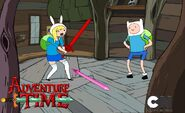 Finn shows Fionna his cool sword.