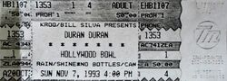 Hollywood Bowl, ticket stub Hollywood, CA, USA wikipedia duran duran show