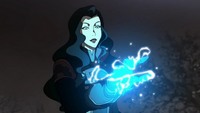 Asami charging an electrified glove