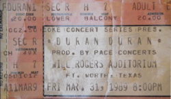 Will Rogers Auditorium, Fort Worth, TX, USA WIKIPEDIA DURAN DURAN TICKET STUB