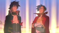 Kamina stands with Simon