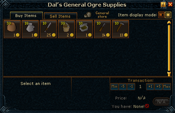 Dal's General Ogre Supplies stock