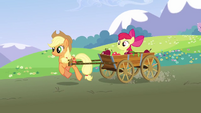 Applejack pulling Apple Bloom in a cart S3E3