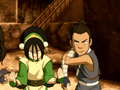 Toph and Sokka prepare to fight.png