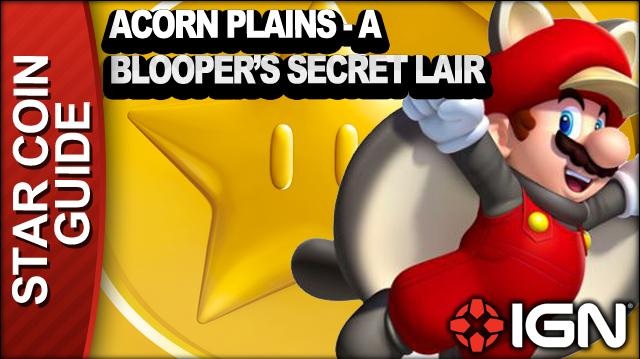 New Super Mario Bros. U 3 Star Coin Walkthrough - Acorn Plains A Blooper's Secret Lair