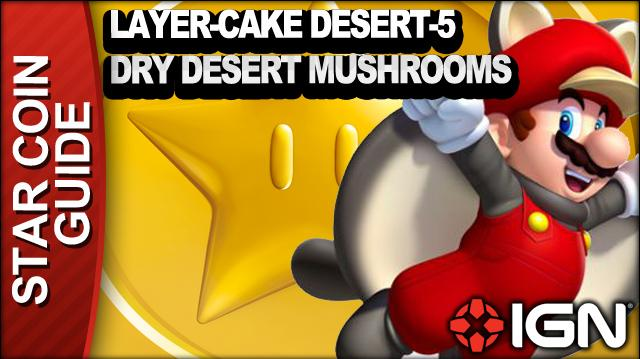 New Super Mario Bros. U 3 Star Coin Walkthrough - Layer-Cake Desert-5 Dry Desert Mushrooms