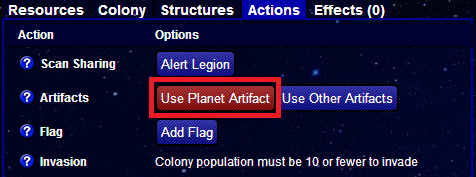Use planet artifact enemy